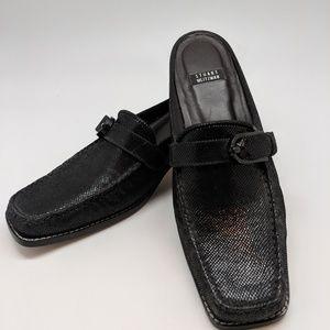 Stuart Weitman slip on black mules.  Authentic.